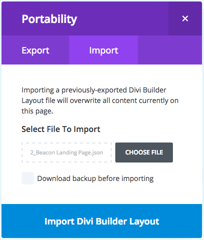 I'm unable to import the  json layout – BeSuperfly